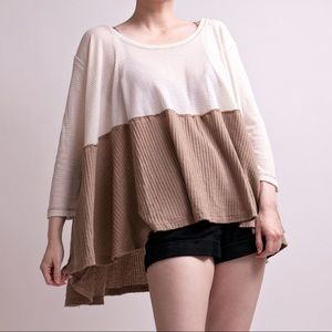 Free People color block beige thermal tunic top
